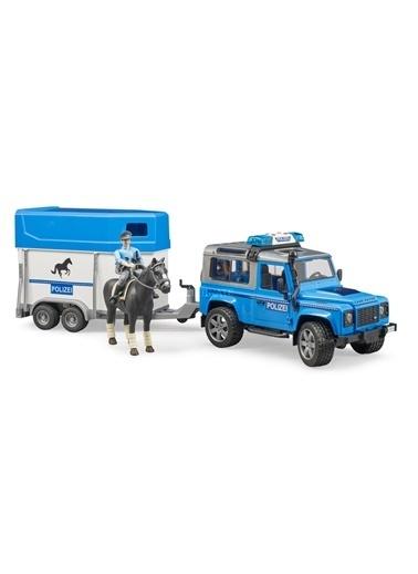 Bruder Land Rover Polis Aracı At Nakil Römorku Memur ve Atı Br02588 Renkli